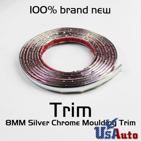 8mm Silver DIY Chrome Moulding Trim Strip Car Self Adhesive Sticker Decals 15ft