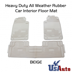3pc Beige All Season Heavy Duty Weather Rubber Truck SUV Auto Floor Mat Liners
