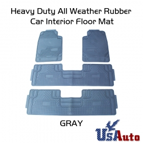 4pc All Weather Heavy Duty Rubber SUV Floor Mat Grey 2 Row & Trunk Liner 3C
