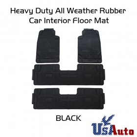 4pc All Weather Heavy Duty Rubber SUV Floor Mat Black 2 Row & Trunk Liner 3C
