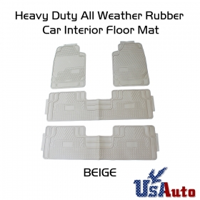 All Weather Heavy Duty 4pc SUV Van Truck Front+Rear Liner Rubber Beige Floor Mats