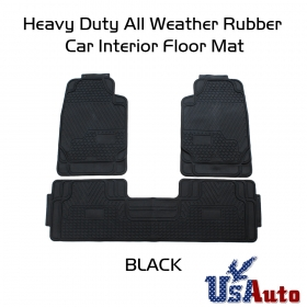 Black All Weather 3D Rubber Floor Mats Front+Rear 3Pc Seat Truck SUV
