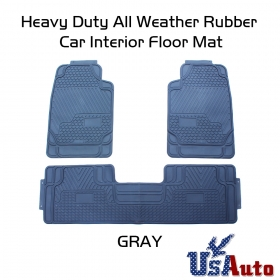 Grey All Seasons 3D Rubber Floor Mats Front+Rear 3Pc Seat Truck SUV