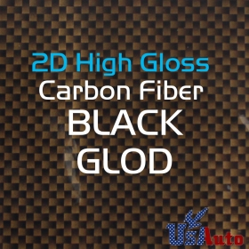 "48""x50"" 2D BLACK GOLD High Gloss Premium Carbon Fiber Vinyl Wrap Sticker Decal"