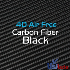 "59""x8"" Premium 4D Gloss Black Carbon Fiber Vinyl Wrap Air Bubble Free"
