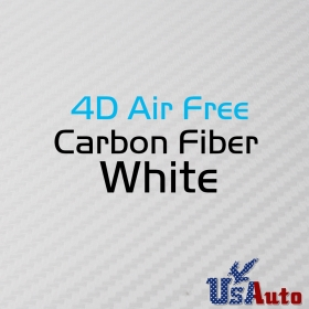 "Bubble Free Car Door Hood Wrap Film White 4D Carbon Fibre Vinyl Glossy 59""x12"""