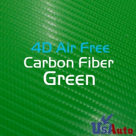 "Green Color Carbon Fiber 4D Air Release Free Adhesive Sticker 59""x24"""