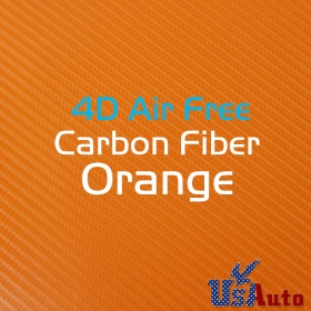 "52""x59"" Air Release 4D Orange Carbon Fiber Backed Adhesive Sticker Decals"