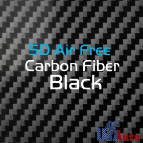 "5D Gloss 12""x60"" Carbon Fiber Film Wrap Roll Car Vinyl Sticker Air Free Black"