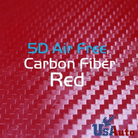 "5D Gloss Carbon Fiber Sheet DIY Wrap Car Vinyl Film 59""X36"" Red Texured Air Free"