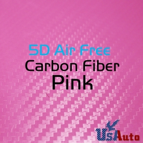 "5D Super Gloss Pink Carbon Fiber Vinyl Car Decals Sticker Wrap 59""x12"" Adhesive"