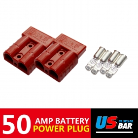50A 2pcs Red Plug Mounting Electricity-insulation 4pcs Terminals Copper Terminal