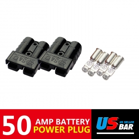 50A 2Pcs Protector Jumper Booster Cables Battery Charger Plug Black Solor Panels