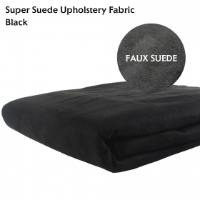 "Faux Premium Suede Upholstery Fabric Black Material Upholstery Replacement and repair of furniture fabric Car Interior 60"" x 108"""