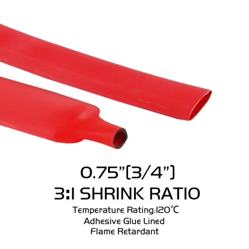 "3/4"" Red Heat Shrink Tubing 120Inch Adhesive Terminals Connectors 3:1 Diameter"